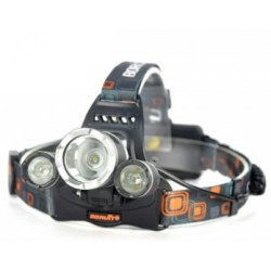 Lanterna cabeça T6+R5 3 leds 3200LM