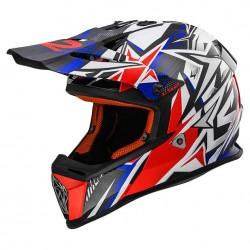 Capacete motocross Fast Strong LS2 branco-azul-vermelho