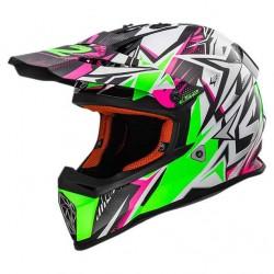 Capacete motocross Fast Strong LS2 branco-verde-rosa