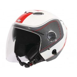 Capacete moto Zeus HZ202 óculos e viseira vermelho-preto-branco