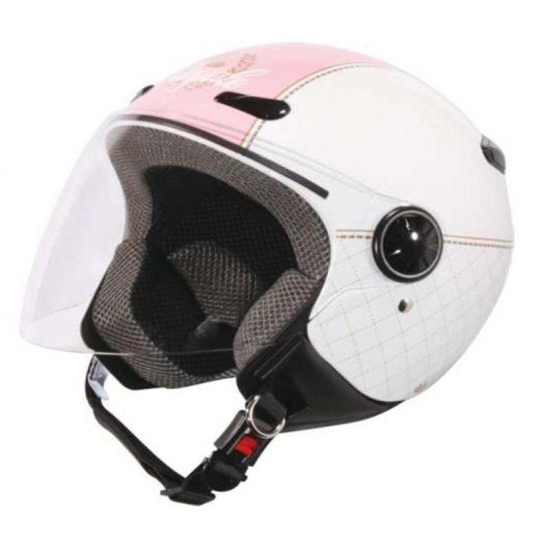Capacete moto Zeus HZ190 com viseira Branco-Rosa