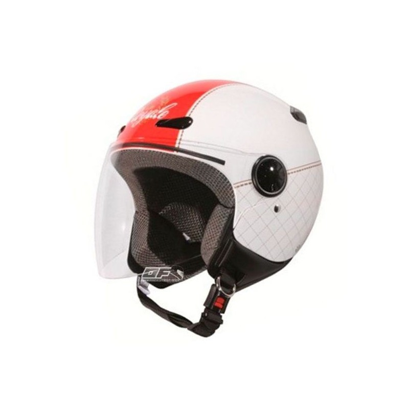 Capacete moto Zeus HZ190 com viseira Branco-Vermelho