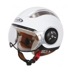 Capacete moto Zeus HZ218 interior pele branco