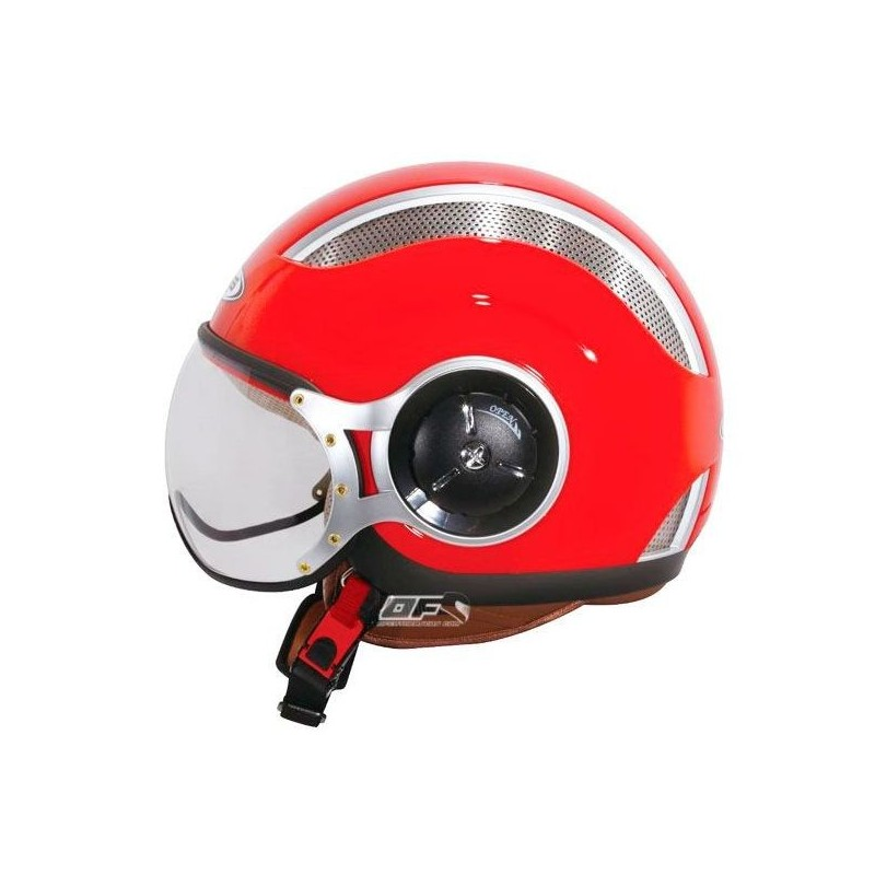Capacete moto Zeus HZ218 interior pele vermelho